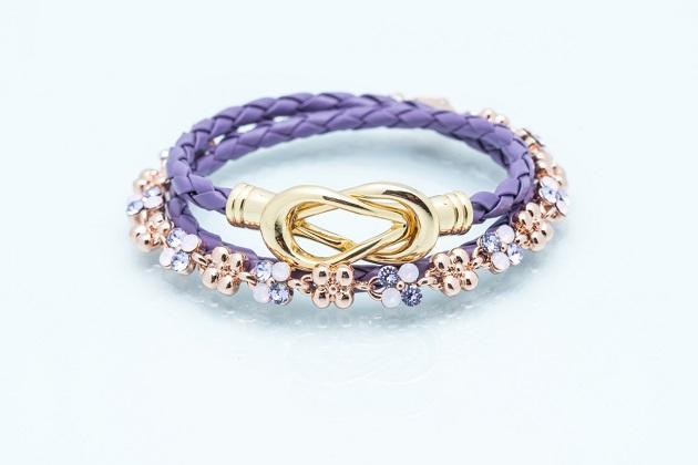 無限大專利磁扣皮革手鍊 X SWROVSKI施華洛世奇玫瑰金全鑽寶石系列-優雅紫 1