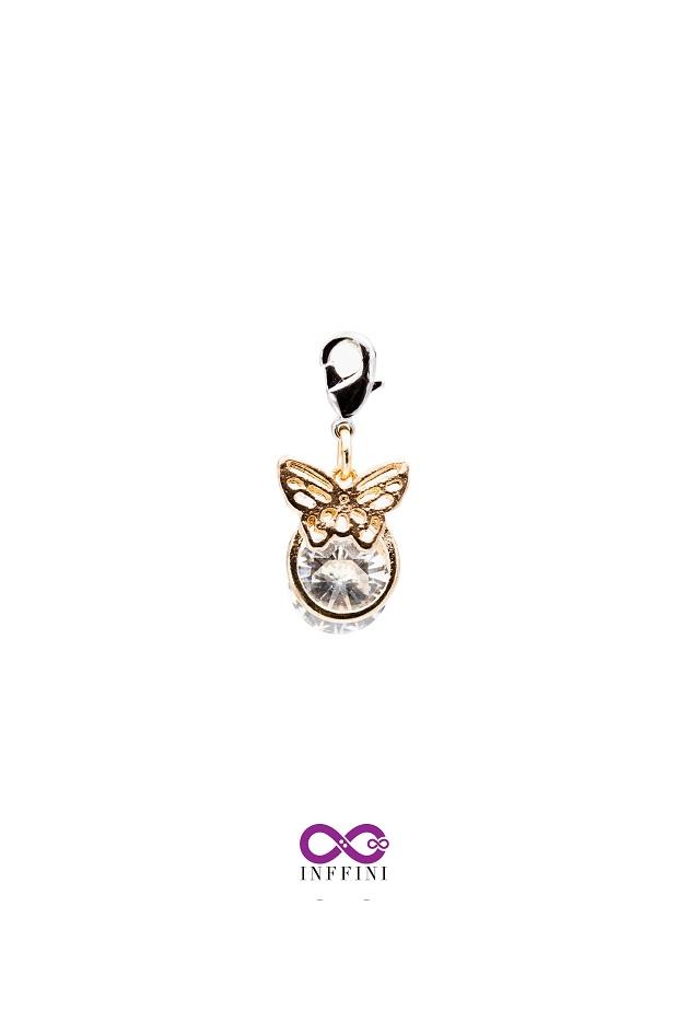 無限大專利磁扣皮革手鍊 X K金色蝴蝶金屬設計內嵌鋯石款 1