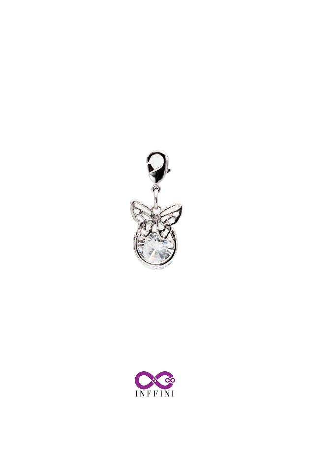 無限大專利磁扣皮革手鍊 X 白K色蝴蝶金屬設計內嵌鋯石款 1