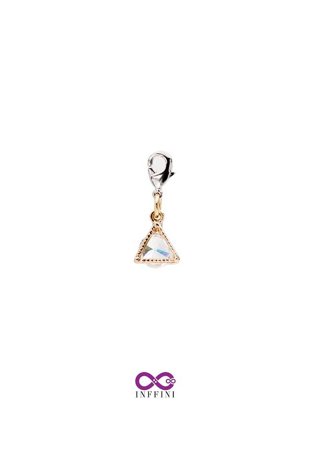無限大專利磁扣皮革手鍊 X 金色小三角金屬內嵌鋯石款 1