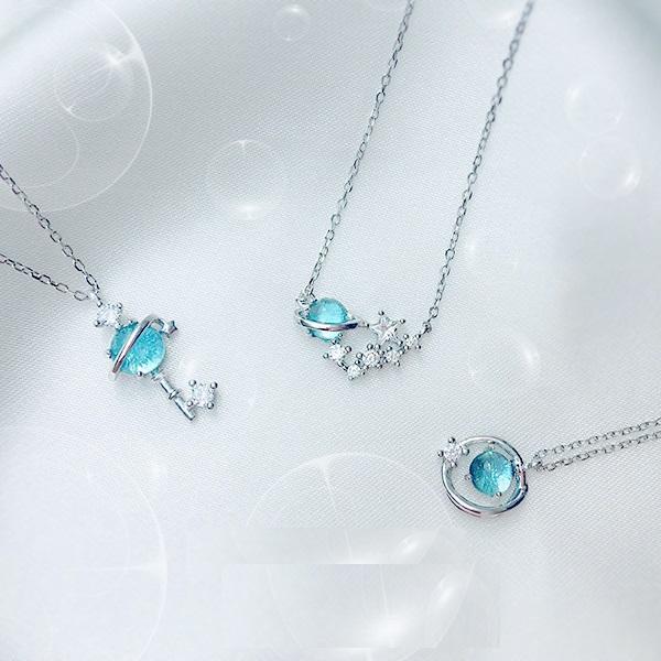 S925銀小清新藍琉璃幻想星球宇宙極光行星女鎖骨鏈項鍊 1