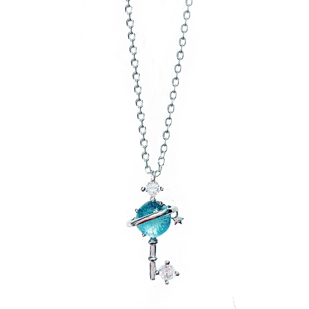 S925銀小清新藍琉璃幻想星球宇宙極光行星女鎖骨鏈項鍊 4
