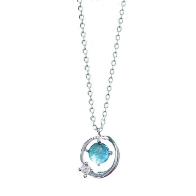 S925銀小清新藍琉璃幻想星球宇宙極光行星女鎖骨鏈項鍊 2