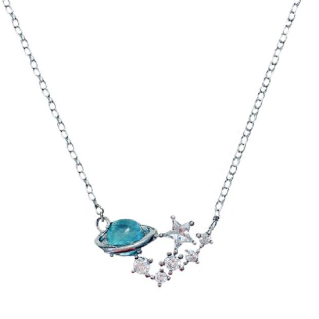 S925銀小清新藍琉璃幻想星球宇宙極光行星女鎖骨鏈項鍊 3